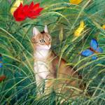 La gata estepa Степная кошка (oleo)